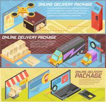 Banners isométricos de entrega on-line de mercadorias vetor