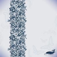 Padrão de renda sem costura abstrata com flores e borboletas.
