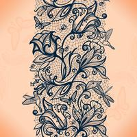 Padrão de renda sem costura abstrata com flores e borboletas. Infinitamente papel de parede, decoração para o seu design, lingerie e jóias.