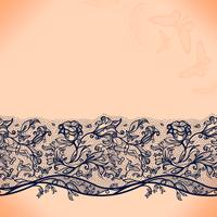 Padrão de renda sem costura abstrata com flores e borboletas. Infinitamente papel de parede, decoração para o seu design, lingerie e jóias. vetor