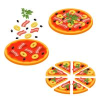 Pizza fatiado isométrica Icon Set