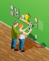 Ilustração isométrica de pais