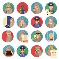 Conjunto de ícones de detetive particular vetor