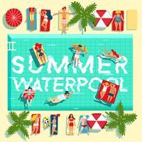 Férias de verão piscina cartaz plana