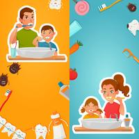 Higiene familiar de banners verticais de dentes vetor