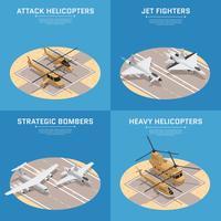 Conjunto de ícones isométrica da força aérea vetor