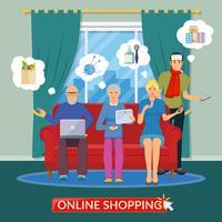 Composição plana de compras on-line vetor