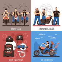 Conjunto de ícones do conceito de motociclistas vetor