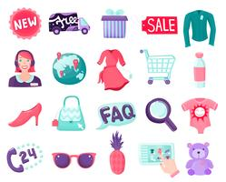 Coleção de itens on-line de loja vetor
