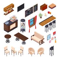 Coleção de mobília de jantar de café vetor