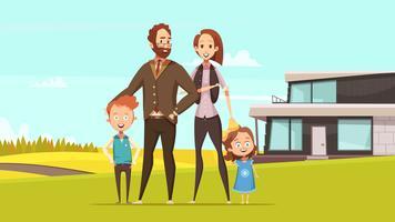 Conceito de projeto feliz da família amigável