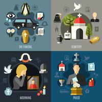 Conjunto de ícones do conceito de funeral vetor