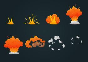 Conjunto de ícones de animação de explosão vetor