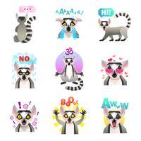 conjunto de adesivos de emoji de lêmure