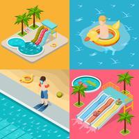 Conjunto de ícones isométrica de composição de parque aquático vetor
