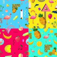 Conjunto de padrões sem emenda coloridos decorativos