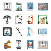 Conjunto de ícones de impressão 3D vetor