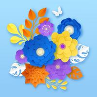 Modelo de composição abstrata de flores de papel vetor