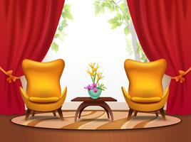 Ilustração Interior de desenhos animados de sala de estar