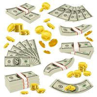 Conjunto de dinheiro de moedas e notas realista