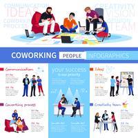 Cartaz de infográfico plana de pessoas de Coworking vetor