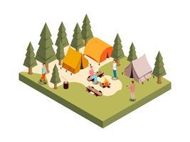 Composição isométrica de acampamento de floresta
