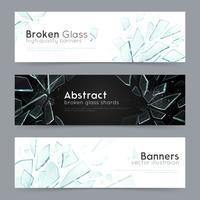 Banners decorativos de vidro quebrado 3 vetor
