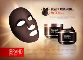 Cartaz da máscara protectora do carvão vegetal vetor