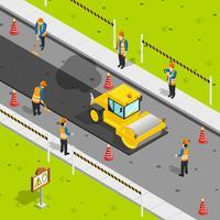 Composição isométrica de asfalto vetor