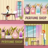 Conjunto de ícones de loja de quatro perfumes vetor