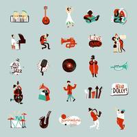 Conjunto de músicos de jazz vetor