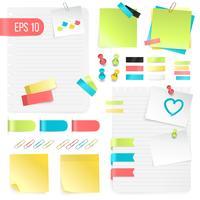 Conjunto de notas de papel colorido vetor