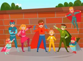 Composição de superheróis de equipe de crianças