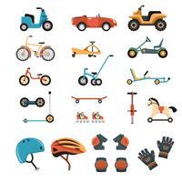 Coleção de elementos de brinquedos de passeio