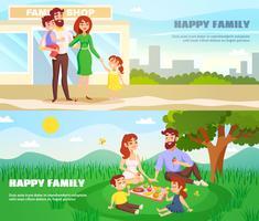 Banners horizontais ao ar livre de família feliz vetor
