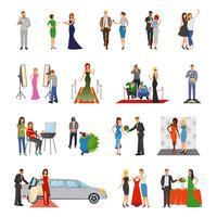 ícones decorativos de cor lisa plana de celebridade