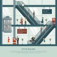 Composição plana de edifício de escritórios vetor