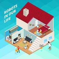 Ilustração isométrica de robôs