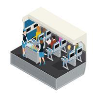 Composição isométrica Interior de avião colorido vetor