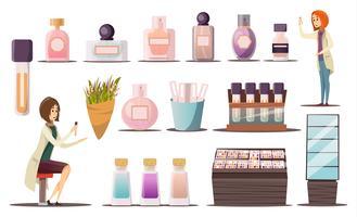 Conjunto de ícones de loja de perfumes vetor
