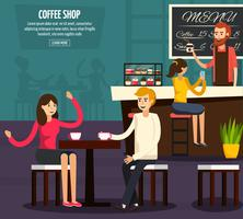 Composição plana de trabalhador de café