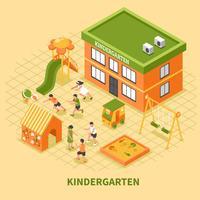 Composição isométrica de edifício de jardim de infância vetor