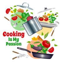 Composição de utensílios de cozinha e legumes vetor