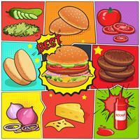 Página de quadrinhos Burger vetor
