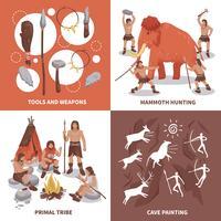 conjunto de ícones de conceito de pessoas tribo primitiva