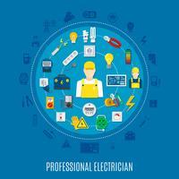 Projeto redondo do eletricista profissional