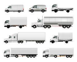 Conjunto de veículos de carga realista