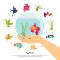 Composição de mão de tigela de peixe vetor