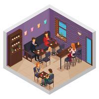 Composição de interior de casa de café vetor