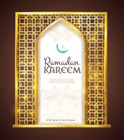 Ornamento tradicional do quadro dourado de Ramadan Kareem vetor